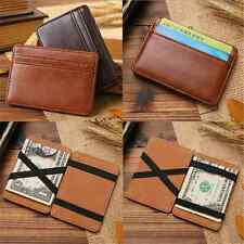 New Men PU Leather Magic Money Clip Slim Wallet ID Credit Card Holder Case Purse