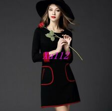 Womens European Style Round Collar Black Long A-Line Slim Casual Dress Plus Size