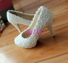 New Womens Round Toe Lace High Heels Beads Pearls Bridal Dress Wedding Shoes Xu