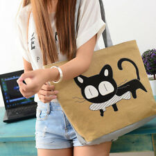 Fashion Women Shoulder Bags Cute Cartoon Cat Canvas Shopping Bag Casual Handbag