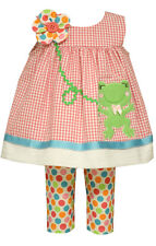 Bonnie Jean Girls Seersucker Frog Easter Spring Summer Dress Capri 2T 3T 4T New
