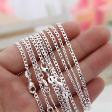 10pcs 925 Sterling Silver Curb Chains 2MM Women Necklace Jewelry 16-30""