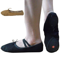 Professional Unisex Soft Skin/Black Canvas Ballet Shoes Dance Gymnastics Shoes
