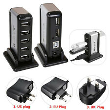 7 Port USB 2.0 HUB Powered + AC Adapter Cable High Speed Splitter Extender PC
