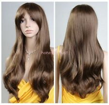 Fashion Women Curly Wavy Long Brown Hair Full Wigs New Fashion Cosplay Party Wig