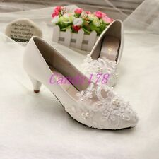 Womens Pearl Flower Wedding Lace Prom Bridal Bridesmaid Flat High Low Heel shoes