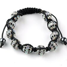 "Crystal Rhinestone Hematite Bead String Woven Knitted Bracelet 7-11""L Adjustable"