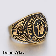 Mens Gold Black Carved United States Veteran Military 316L Stainless Steel Ring