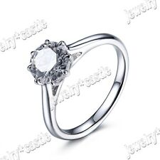 Size 5/6/7/8/9 Round 7mm AAA Graded Cubic Zirconia Ring Sterling Silver 925