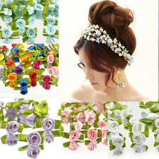 100 Ribbon Rose Wedding Flower Satin Decor Bow Appliques Craft Sewing Leaves COH