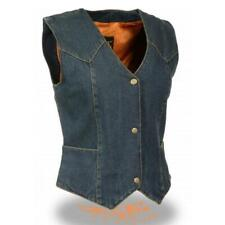 WOMENS LADIES MOTORCYCLE DENIM VEST w/ SOFT MESH INTERIOR LINING  - SA58