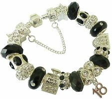 Ladies Girls Sparkling BLACK & SILVER Charm Bracelet PERSONALISE Gift BOX