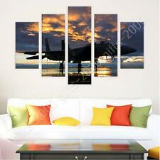 Synthetic CANVAS  Split 5 panels Aircraft in the sunset 5 Panels photo art