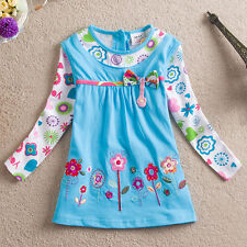Girls Toddlers Appliqued Flowers Sky Blue Bow DRESS Cotton 18mo to 6 yr