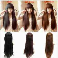 Womens Long Fashion Straight Remy Sexy Brown Black  Wig Hair Full Wigs Wig-cap