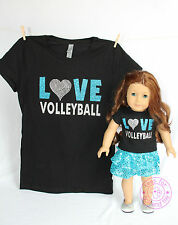 American Girl Doll Clothes - SPARKLE! Matching Girl & Doll Love Volleyball Shirt