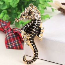 Cute Black Ocean Sea Horse Hippocampal Charm Crystal Key Ring Chain Accessories