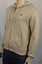 Polo Ralph Lauren Tan Hoodie Zip Sweatshirt Green Pony NWT
