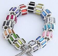 20pc Silver Plated Acrylic Charm Bead Fit European Bracelet AB919