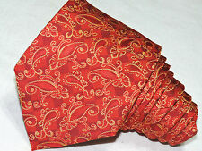 "EURO WIDE KNOT MEN'S TIE RED &YELLOW/PAISLEY 3.7/8"" 62""  CHINA"