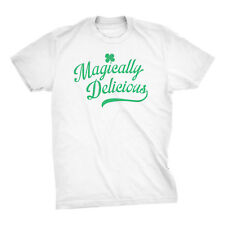 Mens Magically Delicious Funny St Patricks Day Irish T shirt (White)