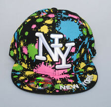 New York NY City Hunter Black Paint Splash Hat Fitted Flat Peak Baseball Cap