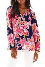 NWT LILLY PULITZER SILK ELSIE TOP BRIGHT NAVY VIA SUNNY XXS,S,M