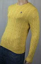 Polo Ralph Lauren Yellow Crewneck Cable-knit Sweater Navy Blue Pony NWT