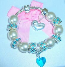 LADIES/GIRLS CHARM BRACELET PERSONALISE PEARL/BLUE AQUA WEDDING/BIRTHSTONE MARCH
