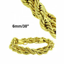 "MEN'S WOMEN'S SOLID STAINLESS STEEL 14K GOLD FINISH ROPE CHAIN 30 &36"" /3 & 6 MM"
