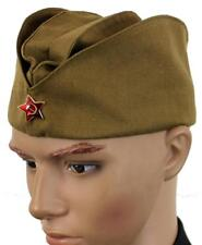 RUSSIAN ARMY PILOTKA SIDE HAT + RED or GREEN HAMMER & SICKLE BADGE