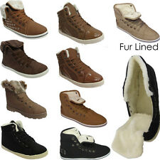 Ladies Womens Fur Lined Lace Up Flat Hi Top Warm Trainers Ankle Boots Shoes Size