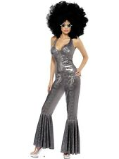 8-14 Sexy Disco Diva Costume 70s 80s Flares Jumpsuit Ladies Fancy Dress Outfit