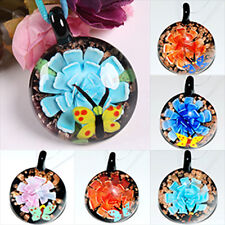 Round Lampwork Glass Beads Flower Charm Pendant For Necklace Chain Jewelry