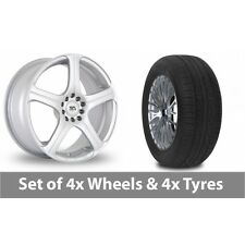 "4 x 15"" BK Racing 166 Silver Alloy Wheel Rims and Tyres -  185/60/15"