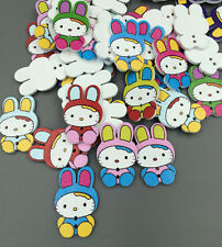 20/50/100pcs Mixed Lovely Cat Painting Wood Buttons scrapbook Decorative 32mm