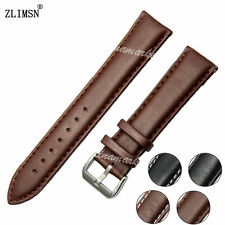 HOT SALE ! 19mm 20mm NEW Smooth Soft 100% Leather Black Brown Watch Band strap