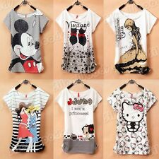 New Women Loose Casual T-Shirt Girl's Blouse Fashion  Korean Printing Cotton Tee