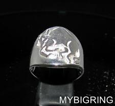 ROUND STERLING SILVER MEN'S ZODIAC RING TAURUS BULL STAR SIGN SYMBOL ANY SIZE
