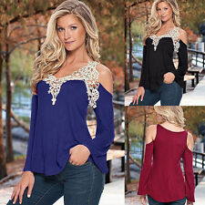 New Off-Shoulder Womens Fashion Long Sleeve Tops Casual Lace Blouse T Shirts