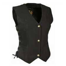 WOMENS LADIES MOTORCYCLE BLACK DENIM FRONT SNAP VEST w/ SIDE LACES - SA60
