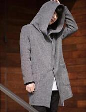 Korean fashion mens casual one button outwear Hooded cardigan long jacket coat