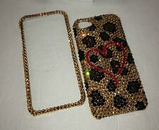 Leopard Heart Crystal Case For IPhone 5 6 6s 4.7 Plus 5.5 M/W SWAROVSKI Elements