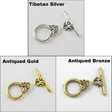 15 New Charms Tibetan Silver Gold Bronze Tone Ring Leaf Connector Toggle Clasps