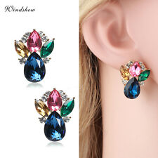 Fashion 18K Gold GF Teardrop Marquise Crystal Stud Earrings Swarovski Element
