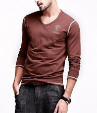 New Fashion Mens V-neck Long sleeve Contract Color Simple T-shirts Cotton M-3XL