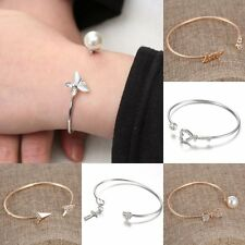 Fashion Charm Women Pearl Crystal Gold Plated Cuff Bracelet Bangle Jewelry Gift