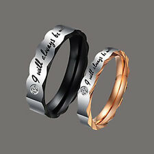 CZ Couple Rings Titanium Steel Wedding Engagement Promise Band Rings Lover Gift
