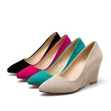 New Ladies Womens Faux suede Pointed Toe Wedge High Heels Pumps Court Shoes UK