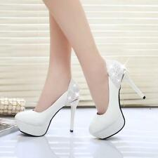 New Women Sexy Dress Party Round Toe Leather Heels Platform Wedding Pumps shoes
